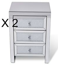 Floating Crystal 3 Drawer Mirrored Bedside Table 3 Draw Miror chest Bedroom ICE
