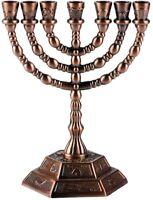 Jewish Candle sticks menorah - 7 branches - 12 tribes of Israel Menorah (Copper)