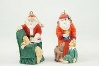 "2 Resin Santa Claus Figurines / Ornaments Stamped Jaimy 2.75"" Tall Vintage"