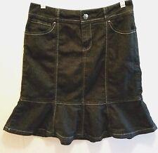 Baccini Denim Skirt Knee Length Dark Blue Black Jean Panel Flared Modest Size 6