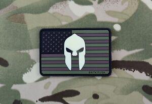 US Spartan Helmet Multicam Flag PVC Glow In Dark Morale Patch Hook/Loop
