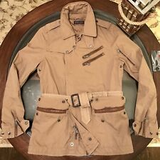 Ralph Lauren Black Label Commander Belted Sz Medium Jacket & Leather Trims Khaki