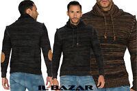 maglione uomo collo alto da risvoltare inserti gomiti 2 colori  tg S,M,L,XL