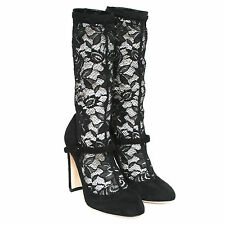 DOLCE & GABBANA sheer black lace high heel boots suede mary jane shoes 36/6 NEW