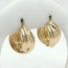 "New 14K Gold 3/4"" Round 11mm Wide Elbow Macaroni Hoop Earrings 3gr"