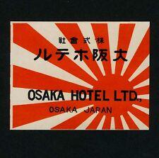 Osaka Hôtel Osaka NIPPON JAPON ASIA * OLD LUGGAGE LABEL Valise Autocollant