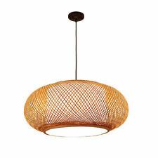 "16"" Vintage Bamboo Wicker Lampshade Rattan Pendant Light Hanging Lamp Fixture Us"