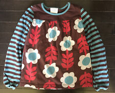 Mini Boden Floral & Stripe Loose Fit Long Sleeve Tee Size 7-8