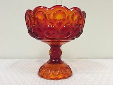 LE Smith Amberina Flame Moon and Star Glass Compote on Pedastool Large