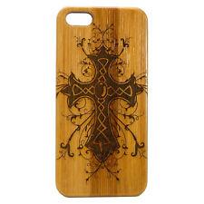 Celtic Cross Case for iPhone 7 Bamboo Wood Cover Religious Irish Catholic God