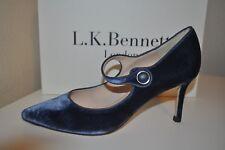 NIB L.K. Bennett Monica Mary Jane Pointy Toe Pump Shoe Velvet Powder Blue 39.5-9