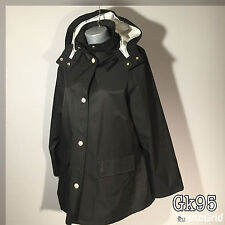 Nautica Boating Jacket L Large Waterproof Mac Size Black Button Up Hooded