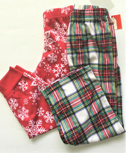 Family Pj's Kids Christmas Pajama Pants 2-Pack, Plaids/Swoflakes, 2T/3T