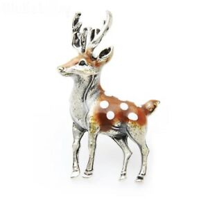 Sweet Silver Tone Woodland Nature Animal Deer With Antlers Enamel Pin Brooch