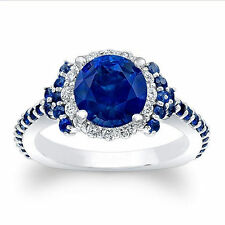 1.72 Ct Natural Diamond Certified Blue Sapphire Rings 14K Hallmarked White Gold