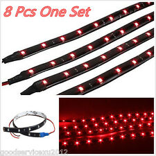 8 Pcs Soft 30cm Super Bright 15LED Red Car Truck Decor Flexible Light Strips 12V