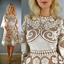 Vtg 70 CUTOUT Lace CROCHET SHEER Scalloped Embroidery Runway mini Wedding DRESS