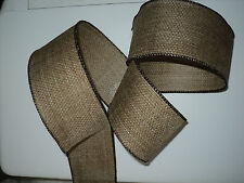 Brown Linen Kraft Burlap Wide Rustic Decorative Wired Ribbon