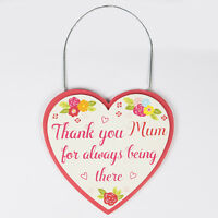 NEW Sass & Belle Thank You Mum For Being There Floral Heart Sign 12x12cm NO P&P