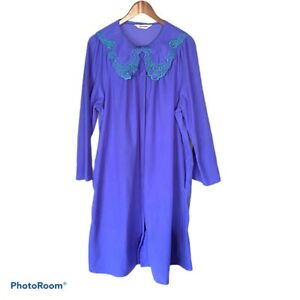 Shadowline Purple W/ Green Floral Embroidery Snap Up Robe With Pockets Size L
