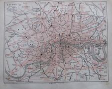 LONDON 1878 - Original alter Stadtplan Alte Karte Antique City Map England