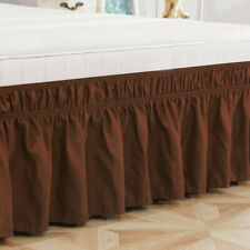 New listing Elastic Bed Skirt Dust Ruffle Easy Fit Wrap Around Queen Size Mattress Decor Us