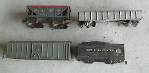 Lot of 4 Vintage O Scale Marx Metal Plastic Incomplete and/or worn Cars