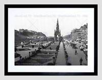 EDINBURGH PRINCESS STREET CASTLE SCOTT MONUMENT SCOTLAND OLD ART PRINT B12X2593