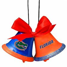 Florida Gators Christmas Tree Holiday Ornament New - 2 Metal Bells with bow