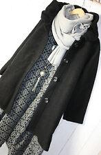 Moonshine Italy chaqueta abrigo walkmantel lana talla 46 48 50 negro Lagenlook