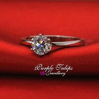 Stamped Solid 925 Sterling Silver Engagement Wedding Ring Made With SWAROVSKI
