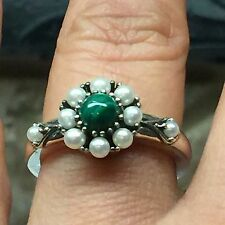 Natural Freshwater Seed Pearl Green Malachite 925 Solid Sterling Silver Ring 6