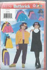 Butterick 5170 FAST & EASY Sew Pattern GIRLS 12-14 JACKET JUMPER SKIRT PANTS HAT