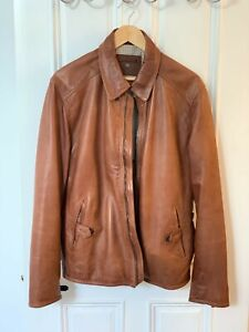 MASSIMO DUTTI Men's Light Brown Leather Jacket (Size L)