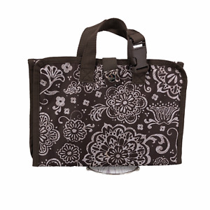 Thirty One Timeless Beauty Folding Travel Cosmetic Jewelry Bag Brown Floral