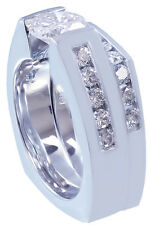 10k White Gold Round Cut Diamond Engagement Ring And Band Tension Bridal 1.90ctw