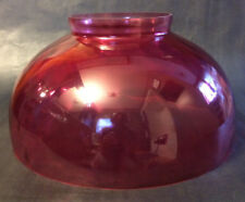 "NEW 14"" Cranberry Dot Optic Hanging Table Glass Oil Lamp Dome Shade -Made in USA"
