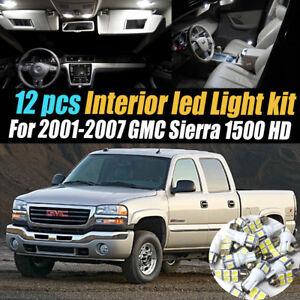12Pc Super White Interior LED Light Bulb Kit Package for 01-07 GMC Sierra 1500HD