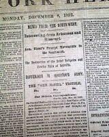 Battle of FREDERICKSBURG VA Burnside Close Yellville AR 1862 Civil War Newspaper
