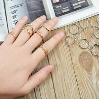 Gold Silver Urban Rings Crystal Above Knuckle Stacking Band Midi Ring 6Pcs/Set