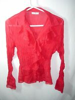 WOMENS JUNIORS RED SPARKLE CRINKLE POLY CAREER RUFFLE BLOUSE TOP SHIRT SIZE M 40
