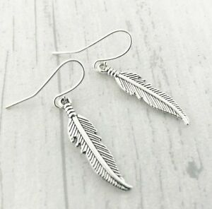Silver Feather Earrings Plated Dangly Drop Gift Boho
