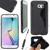Housse Etui Coque Silicone S-line Noir Samsung Galaxy S6 G920F Mini Stylet