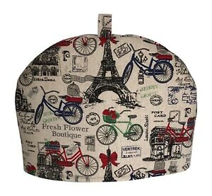 Handmade Vintage Style English/French Bicycle Stamps Postcards Tea Cosy