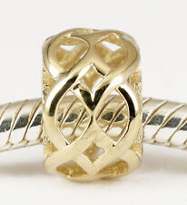 SOLID 9CT 9K GOLD Ornate Fancy Garden Lattice Bead For Charm Bracelet / Necklace