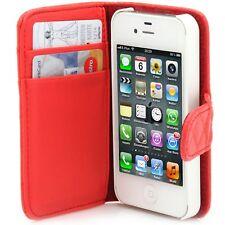 Apple iPhone 4 4S 4G Flip Case Handy Tasche Book Style Kreditkartenfach rot