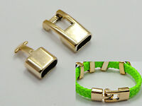 20 Sets Gold Tone Acrylic Hook & Eye Clasps Glue in End Caps Fit 10X4mm Cord