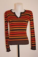 CAROLL PULL femme maille fin coton modal noir rouge orange 36-S-XS-34 occasion !