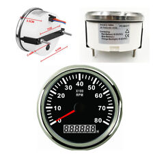 85mm Marine Boat Tachometer Car Truck Tacho Gauge With Hour Meter 0-8000RPM