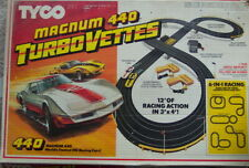 TYCO Magnum 440 Turbo Vettes vintage racing car set, 12' of track HO scale